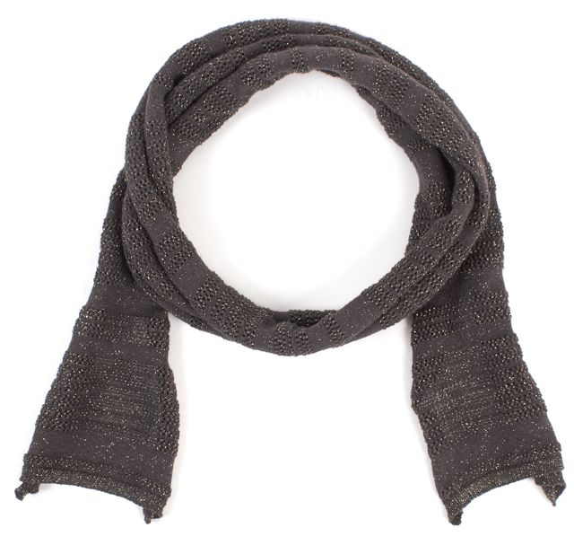 MAJE Taupe Gold Cotton Extra Long Scarf