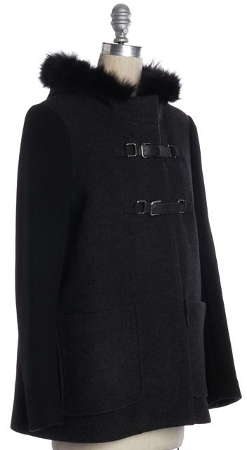 MAJE Gray Wool Hooded Coat with Fur