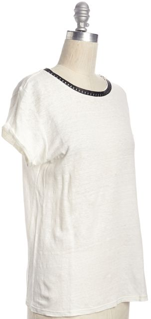 MAJE Ivory Linen Alesandra Basic Knit Tee T-Shirt with Leather Neck Detail