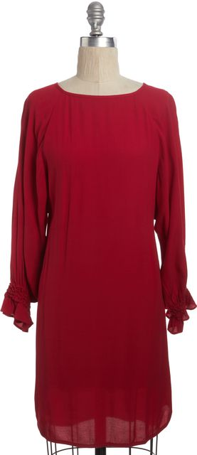MAJE Red Casual Relaxed Fit Shift Ruffle Sleeve Knee-Length Dress