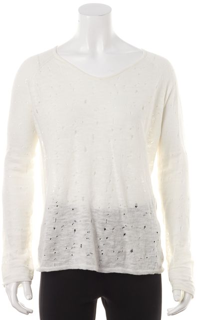 MAJE Ivory Linen Distressed Long Sleeve Basic Tee Top