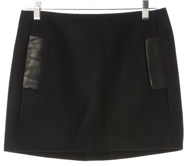 MAJE Black Wool Blend Leather Trim Sole Pocket Front A-Line Skirt