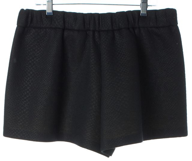 MAJE Black Embossed Leather Trim Sides Mini Shorts
