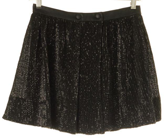 MAJE Black Sequin Mini Skirt