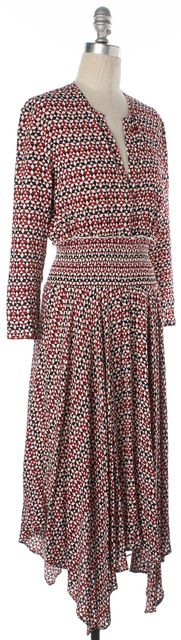 MAJE Red Black White Geometric Print Asymmetrical Hem V-Neck Dress