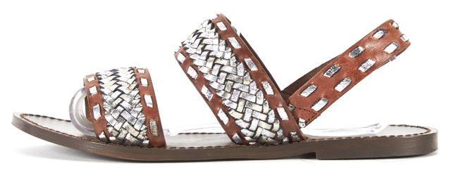 MAJE Brown Silver Woven Leather Slingback Sandals