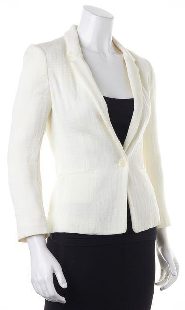 MAJE Ivory Voyelle Textured One Button Blazer Jacket
