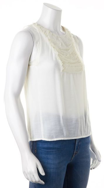 MAJE White Ruched Lace Sleeveless Button Back Blouse Top