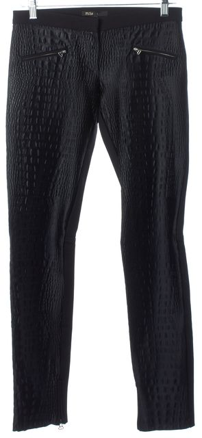 MAJE Black Crocodile Embossed Stretch Ponte Back Skinny Trouser Pants