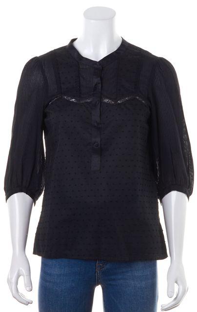 MAJE Black Lace Trim Striped 3/4 Sleeve Casual Blouse