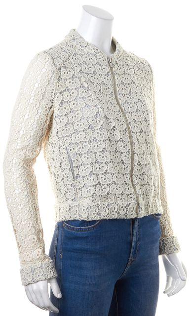 MAJE Ivory Blue Floral Crochet Stripe Lining Zip Up Jacket