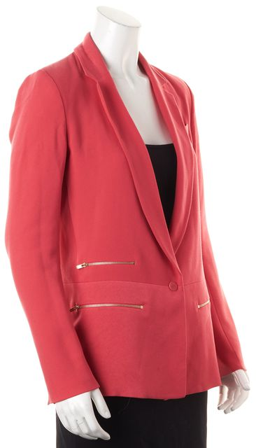 MAJE Pink Gold Zip Pocket One Button Blazer Jacket