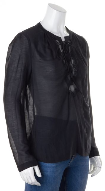 MAJE Black Sheer Cotton Silk Lace Front Tie-Up Dionee Blouse