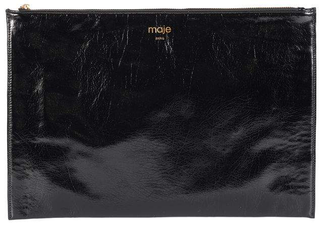MAJE Black Patent Faux Leather Zip Pouch Clutch
