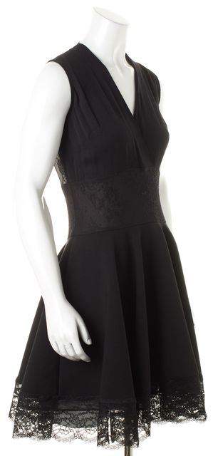 MAJE Black Sheer Lace Panels Sleeveless Fit & Flare Dress
