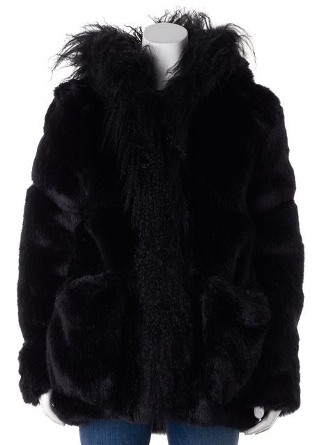 MAJE Black Lamb Fur Coat