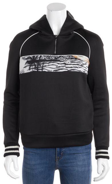 MAJE Black Panoramic Beach Print 1/4 Zip Hooded Sweatshirt