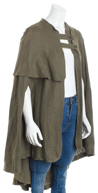 MAJE Army Green Linen Sherwood Cape Outerwear