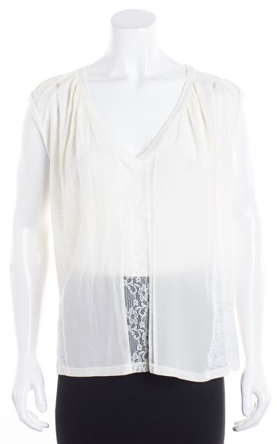 MAJE White Linen Floral Lace Sheer Silk Front V-Neck Blouse
