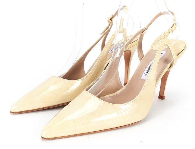 MANOLO BLAHNIK Ivory Glitter Patent Leather Caroline Slingback Pumps