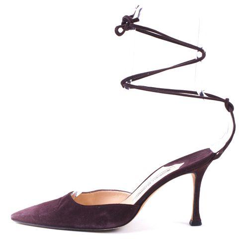 MANOLO BLAHNIK Brown Suede Pointed Ankle Wrap Heels Sz 35.5