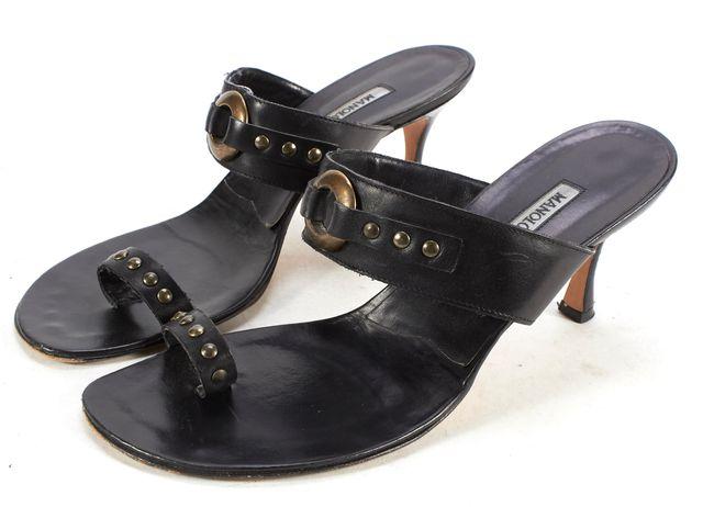 MANOLO BLAHNIK Black Leather Open Toe Mule Heel