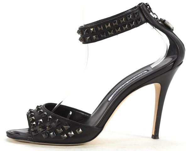 MANOLO BLAHNIK Black Leather Studded Ankle Strap Pumps Size 39
