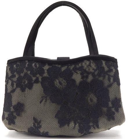 MANOLO BLAHNIK Black Gray Lace Mini Top Handle Bag
