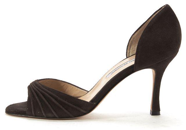 MANOLO BLAHNIK Brown Suede d'Orsay Opened Toe Heels