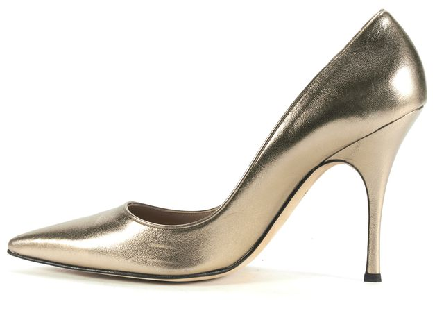 MANOLO BLAHNIK Gold Leather Pointed Toe Heeled Pumps Size 41.5