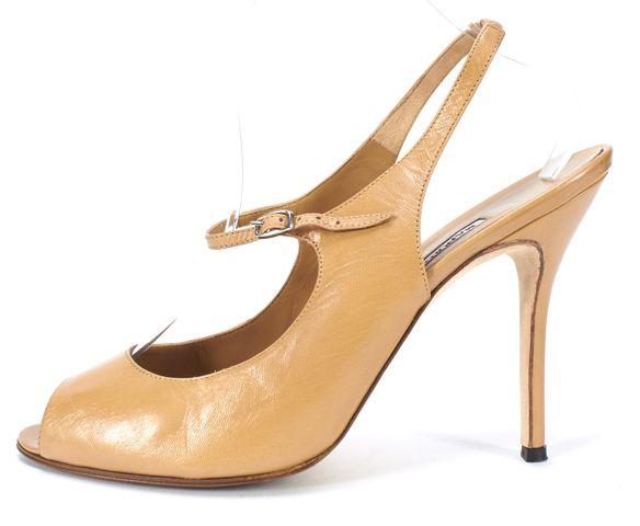 MANOLO BLAHNIK Brown Leather Slingback Open Toe Mary Jane Heels Size 41
