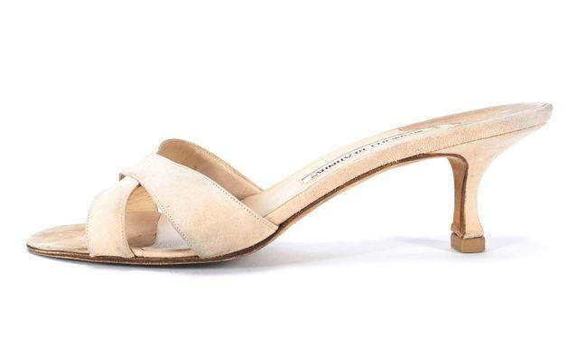 MANOLO BLAHNIK Dusty Pink Kitten Heel Sandals Size 38.5