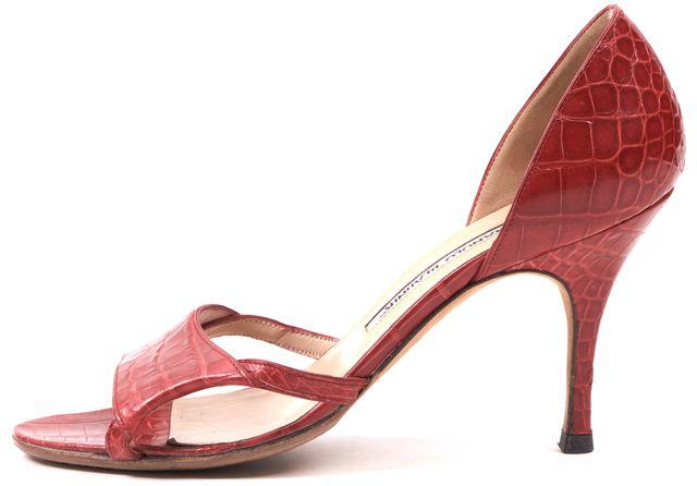 MANOLO BLAHNIK Red Croc Embossed Leather Sandal Heels