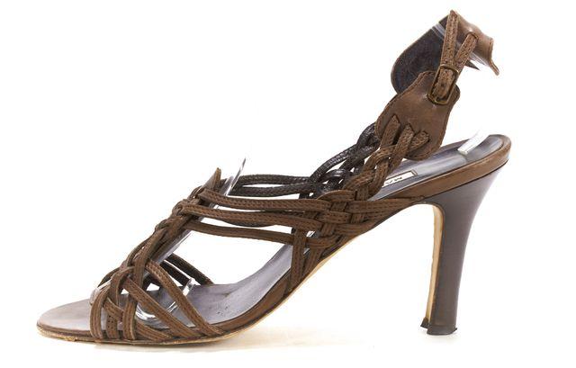 MANOLO BLAHNIK Brown Leather Strappy Sandals