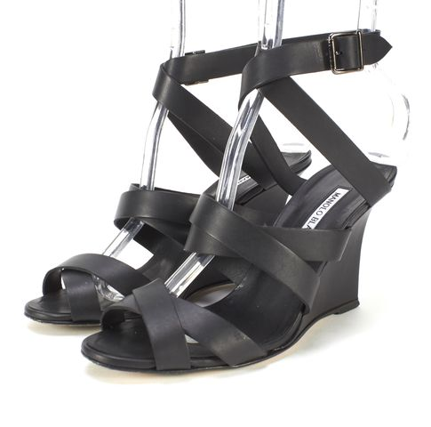 MANOLO BLAHNIK Black Leather Criss Cross Sandal Wedges Size 38.5