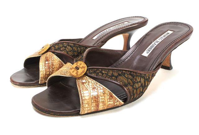 MANOLO BLAHNIK Brown Multi Mixed Media Leather Kitten Heel Sandal Size 38