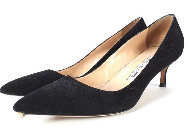 MANOLO BLAHNIK Black Suede Pointed Toe Pumps Size 37.5