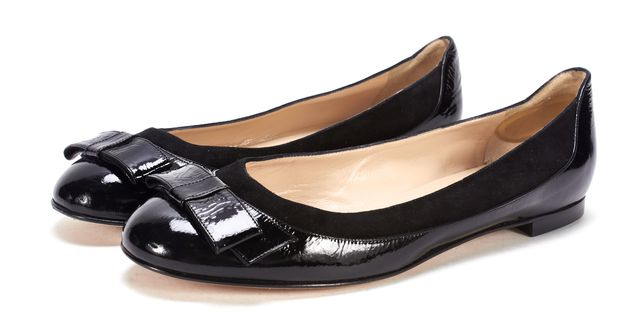 MANOLO BLAHNIK Black Suede Patent Leather Flats Size 40.5 US 9.5