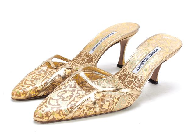 MANOLO BLAHNIK Multi Color Baroque Leather Point Toe Low Heel Mules