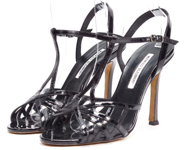 MANOLO BLAHNIK Black Patent Leather Caged T Strap Sandals