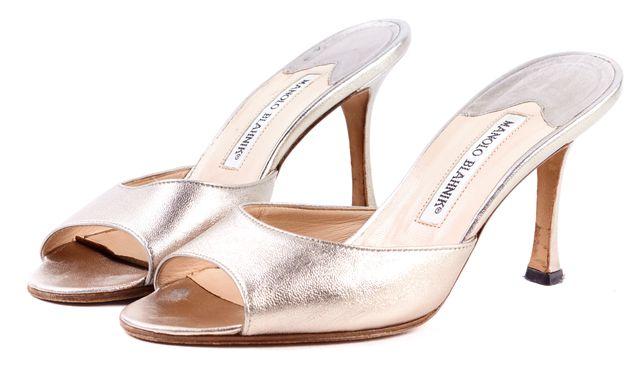 MANOLO BLAHNIK Gold Metallic Leather Slide-on High Heel Mules Sandals
