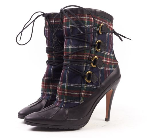 MANOLO BLAHNIK Black Multi Color Plaid Canvas Leather Heeled Ankle Boots