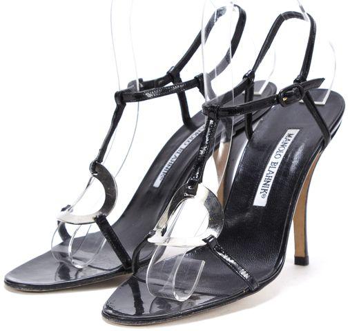 MANOLO BLAHNIK Black Patent Leather Sandal Heels