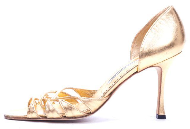 MANOLO BLAHNIK Gold Leather Strappy Sandal Heels