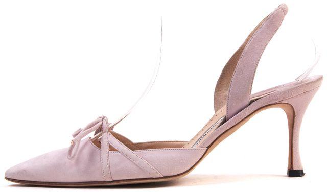 MANOLO BLAHNIK Pink Suede Pointed Toe Sling Back Low Heel Pumps