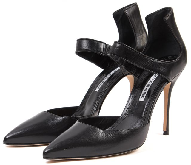 MANOLO BLAHNIK Black Leather Pointed Toe Ankle Strap Pumps Size 40.5 US 9.5