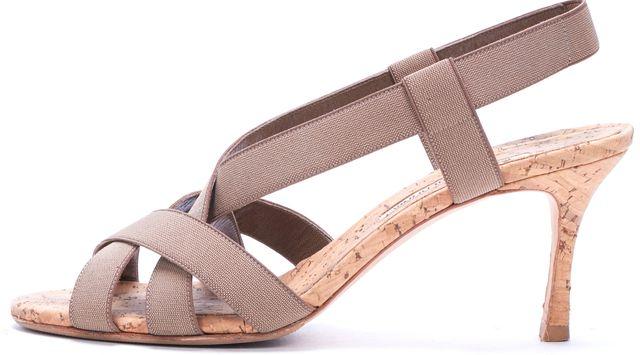 MANOLO BLAHNIK Olive Green Beige Casual Multi Strap Sandal Heels