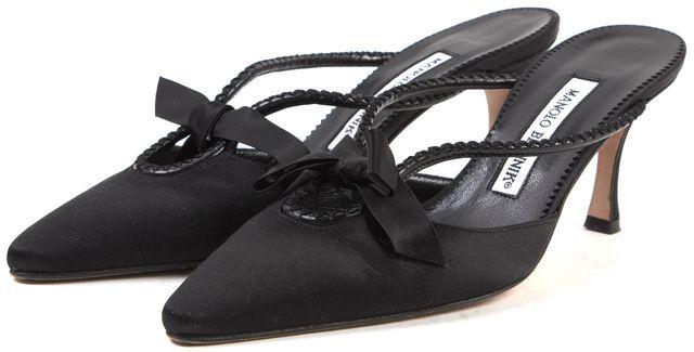 MANOLO BLAHNIK Black Satin Pointed Toe Bow Embellished Mule Heels
