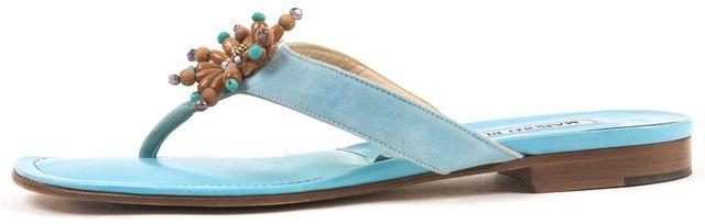 MANOLO BLAHNIK Blue Suede Leather Embellished Slide On Sandals