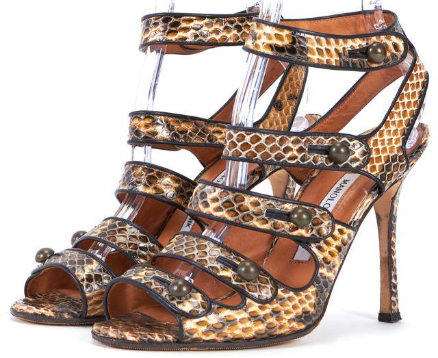 MANOLO BLAHNIK Beige Brown Black Animal Print Embossed Leather Sandal Heel